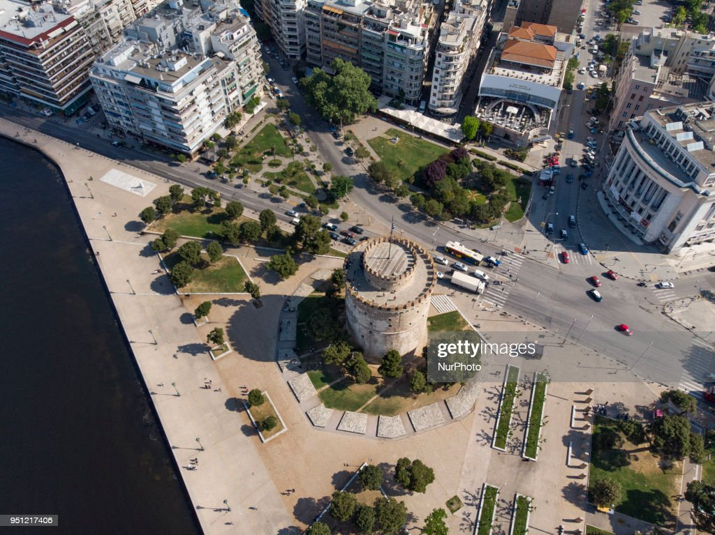 Drone Images By The White Tower Of Thessaloniki
