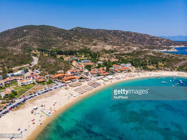 Aerial images of a drone of Kalamitsi beach in Sithonia peninsula, Halkidiki, Greece. Kalamitsi is a beautiful bay with calm turquoise crystal clear...