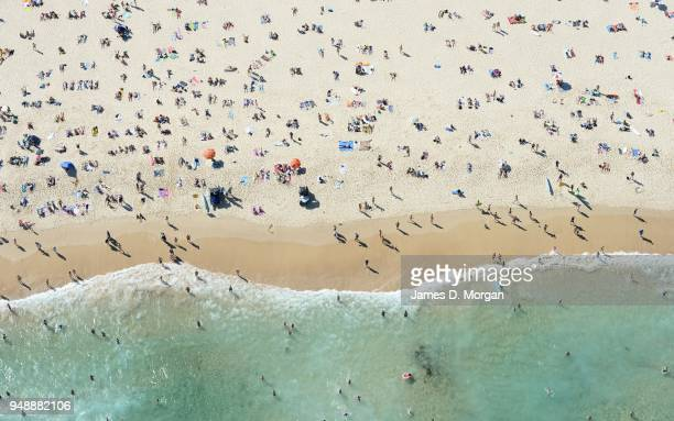 Aerial images of Bondi Beach and Coogee Beach on January 17 2015 in Sydney Australia Scenes from 500 feet above Coogee and Bondi beaches where temps...