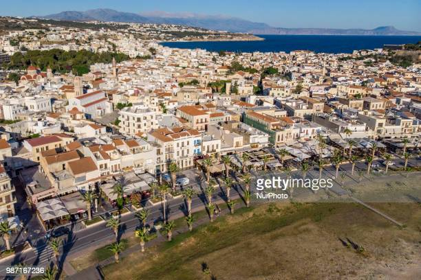 Aerial images of Rethymno beach town in Creta island in Greece Rethymno is a little historic beach town in the northern coast in Crete laying on the...