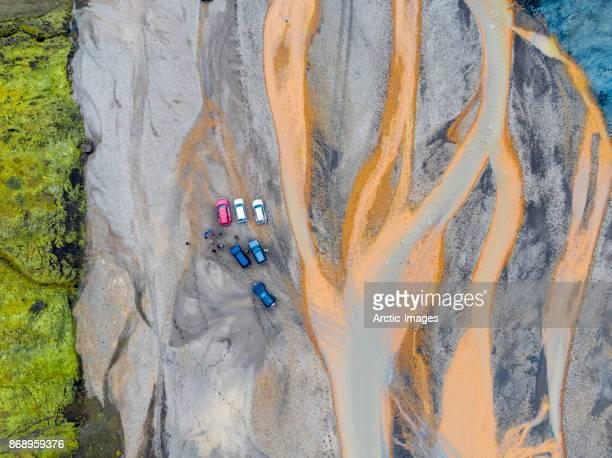 Aerial- Jeep tour, Jokulgilskvisl River in Landmannalaugar, Iceland