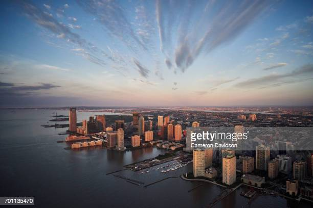 Aerial Jersey City, New Jersey at sunrise