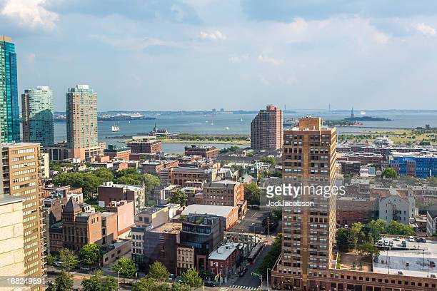 Aerial: Jersey City NJ and the Statue of Liberty NY