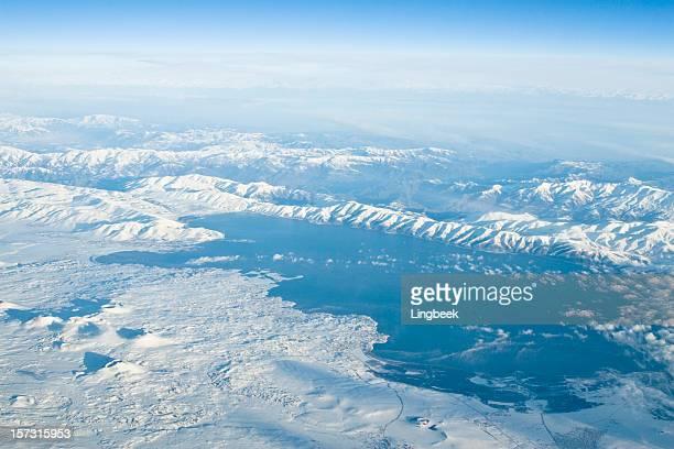 Aerial Lake Sevan in Armenia