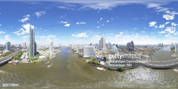360° aerial landscape of neighborhoods along chao phraya river in bangkok, thailand - equirectangular panorama stock pictures, royalty-free photos & images