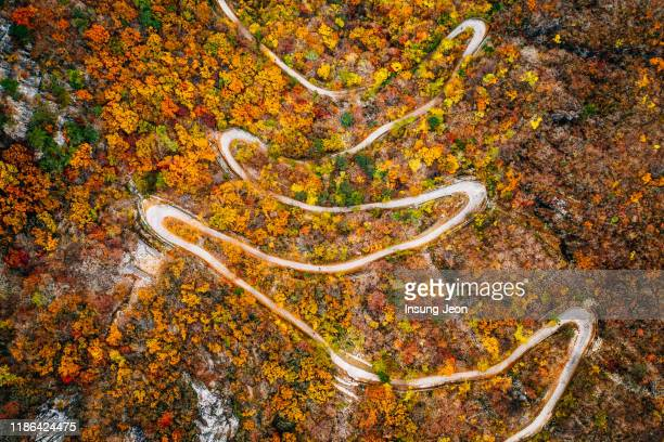 aerial landscape of winding trail to ganwoljae, sinbulsan mountain - south korea stock pictures, royalty-free photos & images