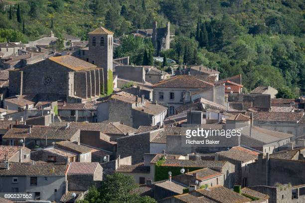 Aerial landscape overlooking the pretty French medieval walled village of Lagrasse on the River Orbieu on 23rd May in Lagrasse LanguedocRousillon...