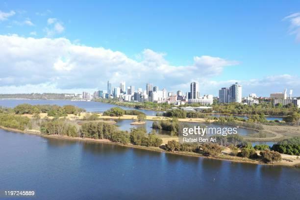 aerial landscape view of perth city financial center - rafael ben ari stock-fotos und bilder