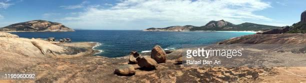 aerial landscape view of thistle cove in cape le grand western australia - rafael ben ari stock-fotos und bilder