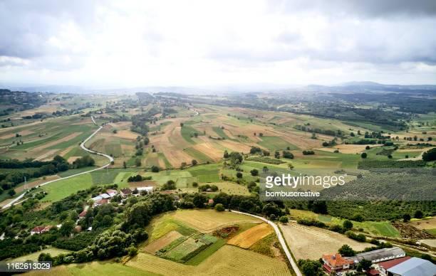 aerial landscapes stock photo - scena rurale foto e immagini stock