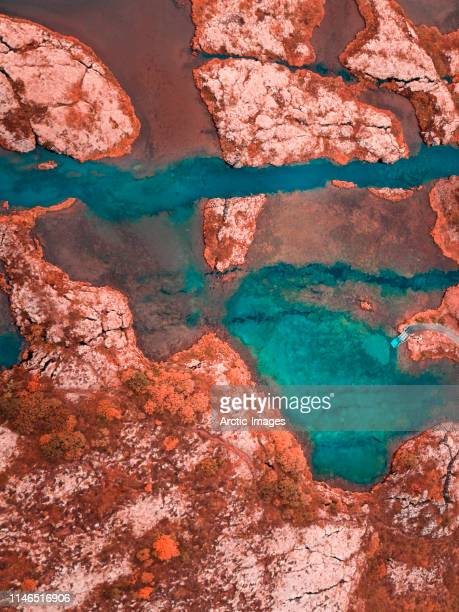 aerial - lava and moss- thingvellir national park, iceland - turquoise colored stock pictures, royalty-free photos & images