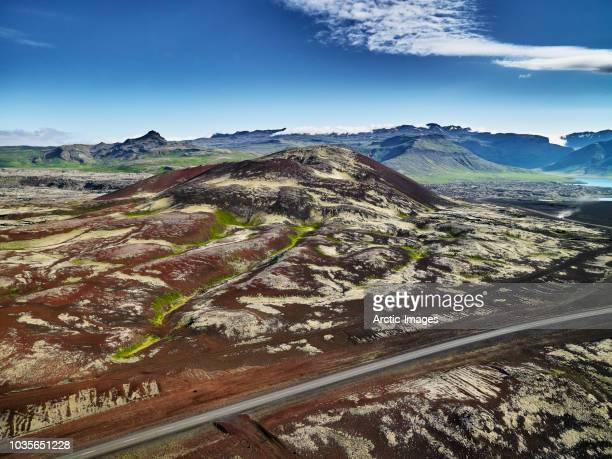 aerial - lava field, iceland - volcanic terrain stock pictures, royalty-free photos & images