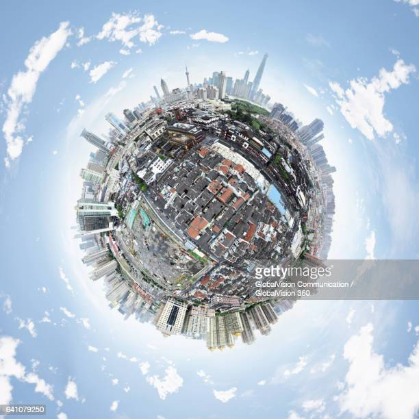 360° aerial little planet above shanghai, china - little planet format stock photos and pictures