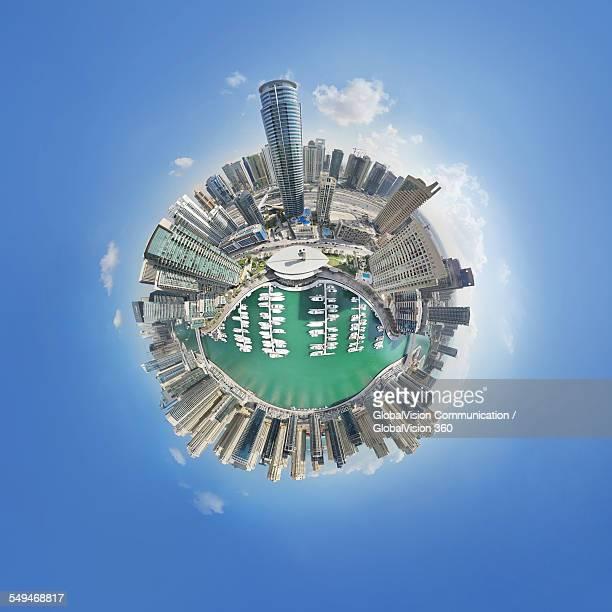360° Aerial Little Planet of Dubai Marina