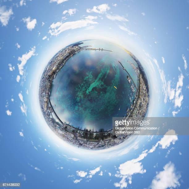 360° aerial little planet of geneva, switzerland - formato de pequeno planeta - fotografias e filmes do acervo