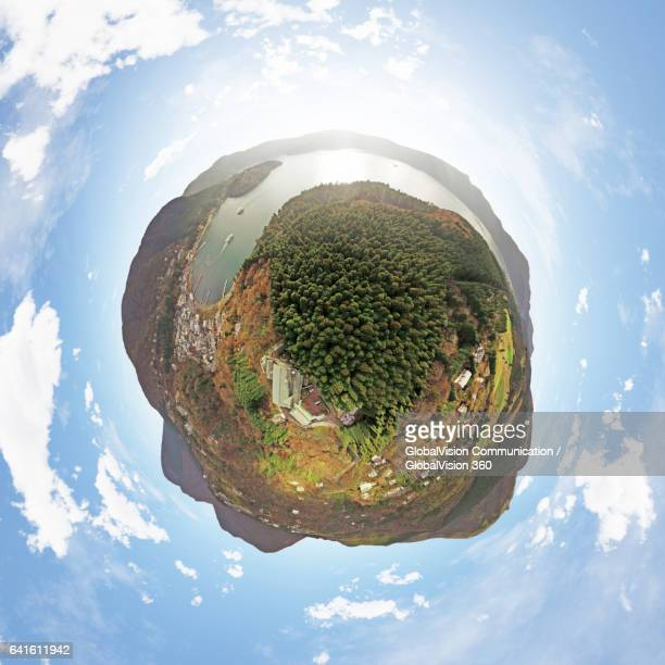 360° Aerial Little Planet of Lake Ashi, Japan