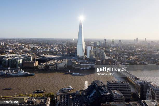 aerial london cityscape against clear sky - cityscape stock pictures, royalty-free photos & images