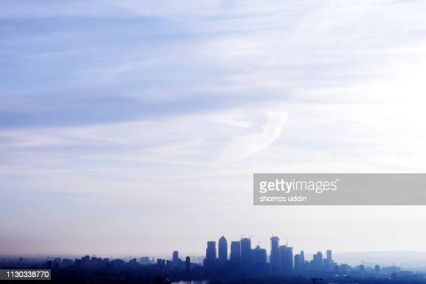 aerial london cityscape in mist - east london stock pictures, royalty-free photos & images