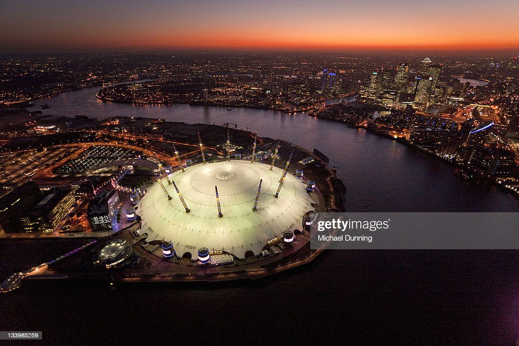 Aerial, London, Dome, Docklands, : Stock Photo