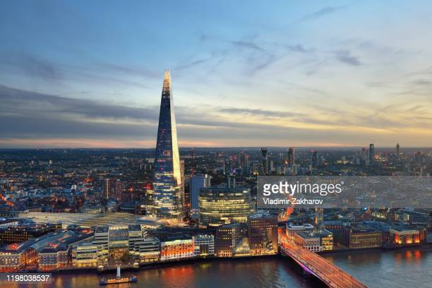 aerial london view at sunset - 2019 stock pictures, royalty-free photos & images