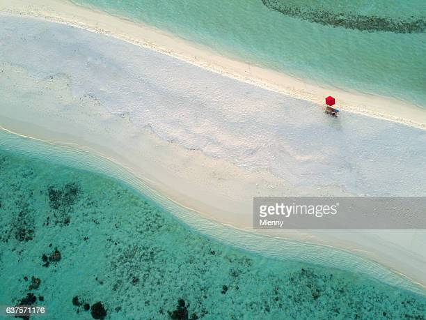 Aerial Lonely Red Umbrella Beach Maldives South Ari Atoll