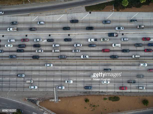 Aerial looking directly down on Interstate 110 commuter traffic Los Angeles, CA