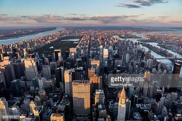 Aerial looking North over Midtown Manhattan