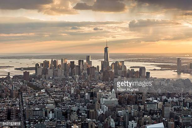 Aerial looking south over downtown Manhattan