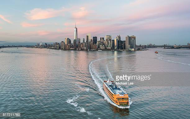 Aerial Lower Manhattan Sunset Cityscape - New York