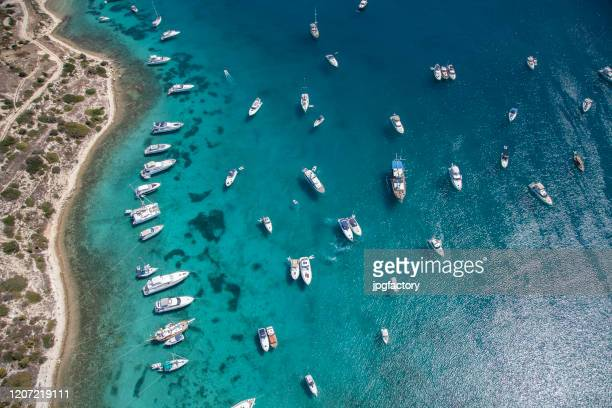 aerial luxury sailboats and yachts - aegean sea stock pictures, royalty-free photos & images