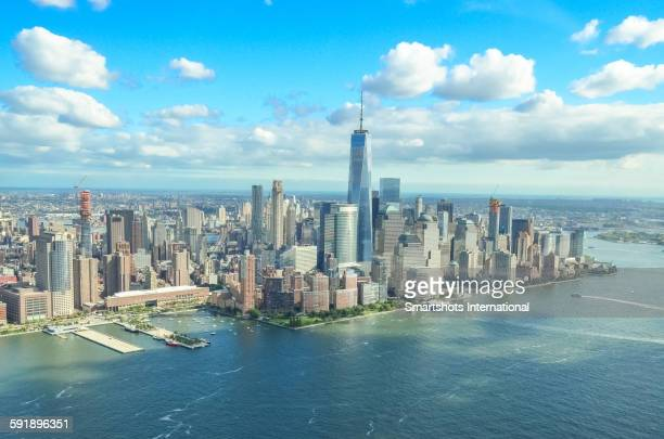 Aerial Manhattan skyline with Freedom Tower, NYC