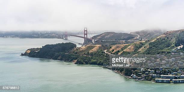 Aerial Marin and Golden Gate Bridge - San Francisco Bay Area