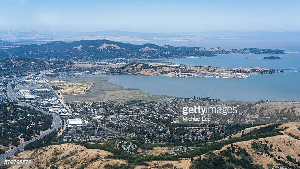 aerial marin and san quentin - california - peninsula stock pictures, royalty-free photos & images