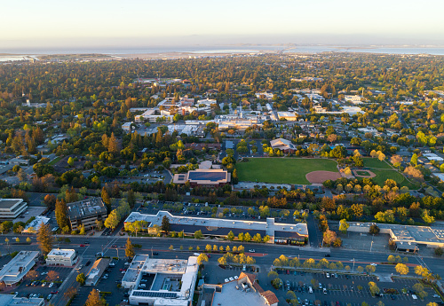 Aerial: Menlo Park in Silicon Valley at sunset - gettyimageskorea