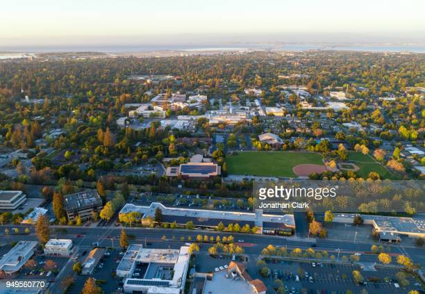 Aerial: Menlo Park in Silicon Valley at sunset