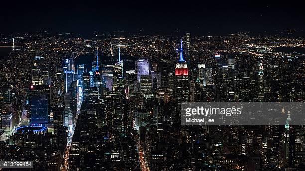Aerial Midtown Manhattan at Night - New York