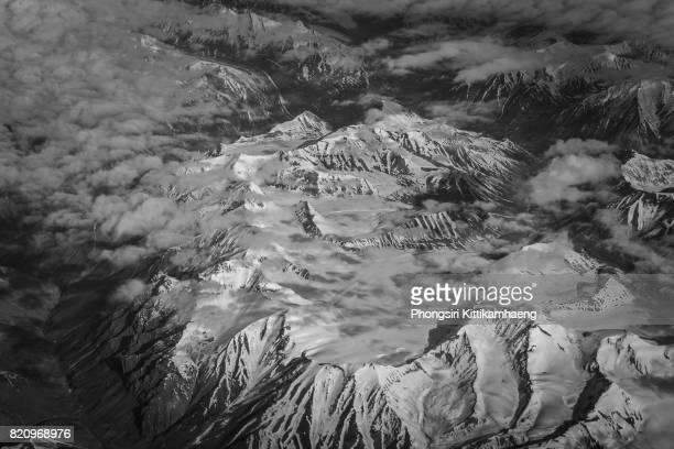 Aerial mountain view of Himalayas mountain range over Leh Ladakh, India