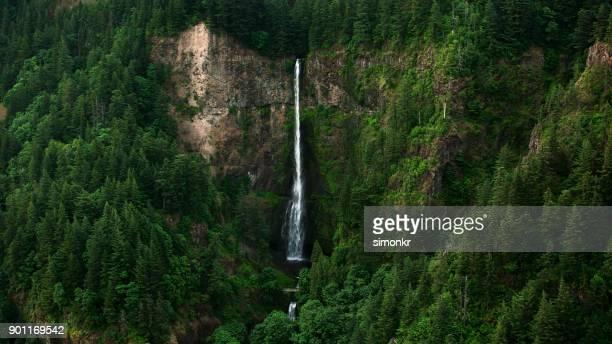 aerial multnomah falls - multnomah falls stock pictures, royalty-free photos & images