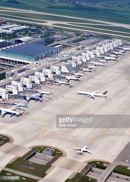 aerial munich airport terminal 2
