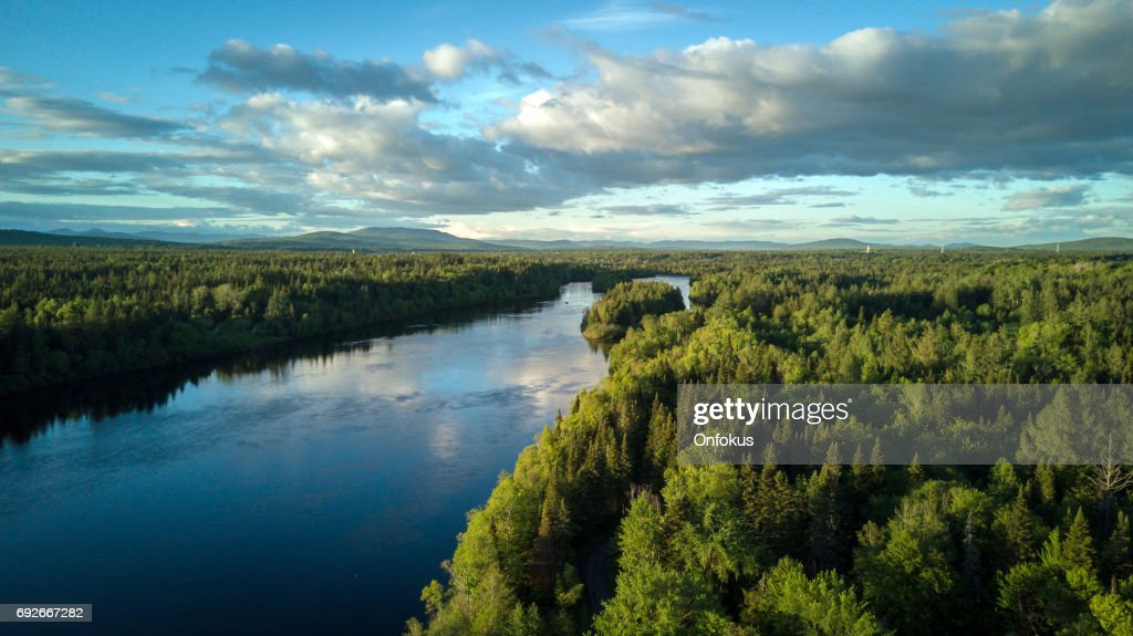 Aerial Nature Landscape Flying over River at Sunset : Stock Photo