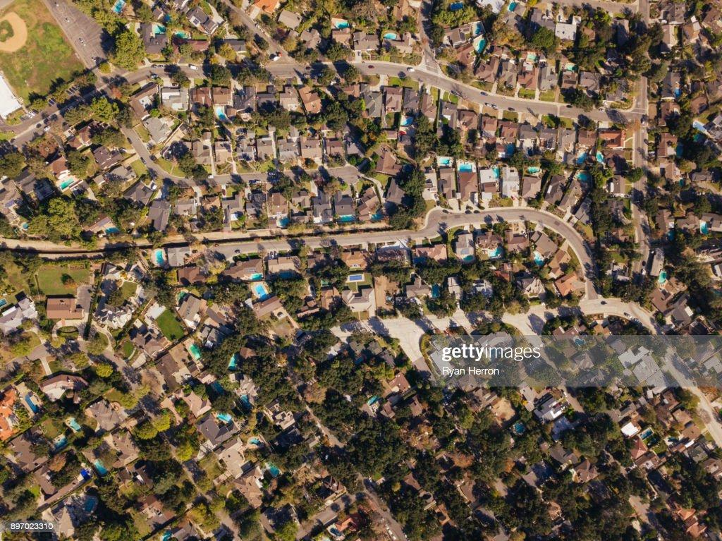 Aerial Neighborhood with Mountains : Stock Photo