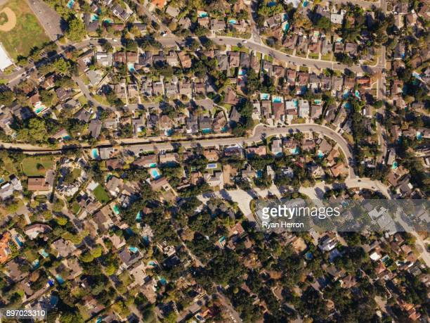 aerial neighborhood with mountains - pasadena california stock pictures, royalty-free photos & images