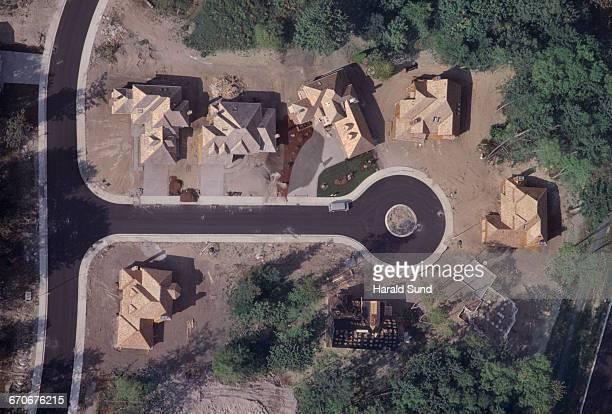 Aerial, new housing development on a cul de sac.