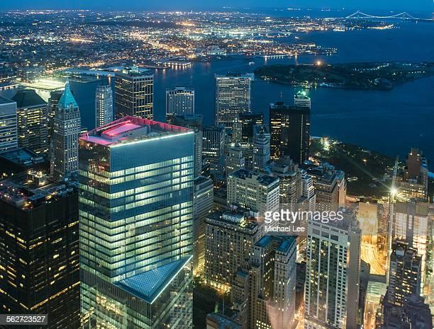 Aerial New York at night
