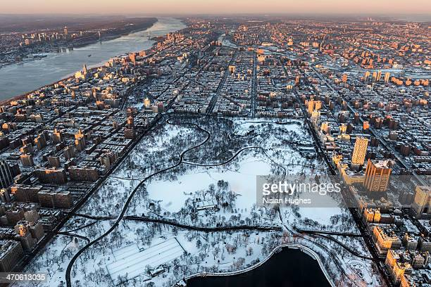 Aerial New York City and Central Park snow covered