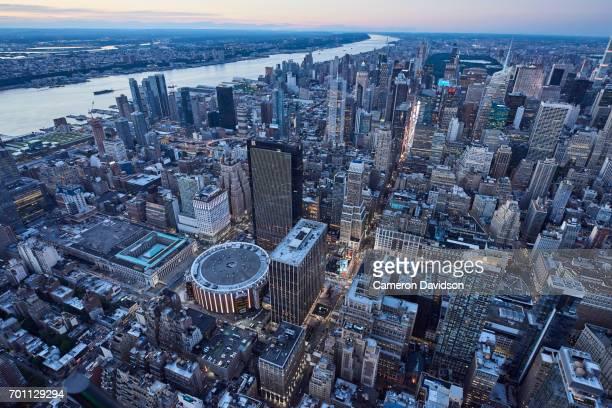 Aerial New York City Midtown Evening