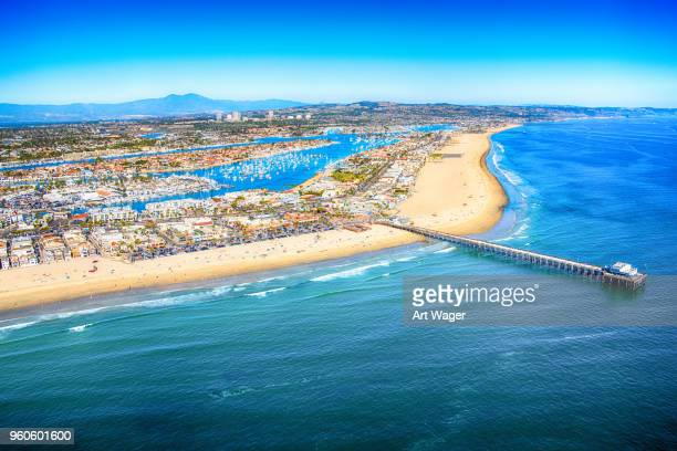 aerial newport beach california - newport beach stock pictures, royalty-free photos & images