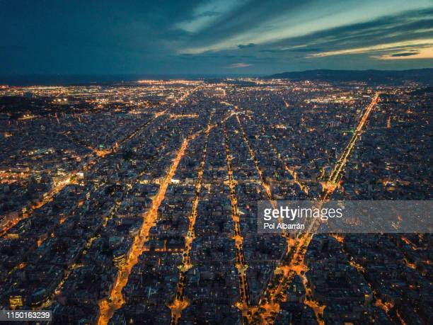 aerial night view of barcelona. - barcelona spain stock pictures, royalty-free photos & images