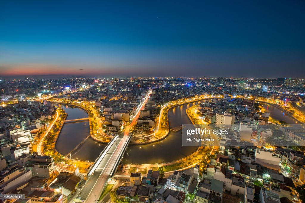 HO CHI MINH CITY, VIETNAM - Aug 2: Aerial night view of Business and Administrative District of Ho Chi Minh city on Saigon riverbank on Aug 2, 2016 : Stock Photo