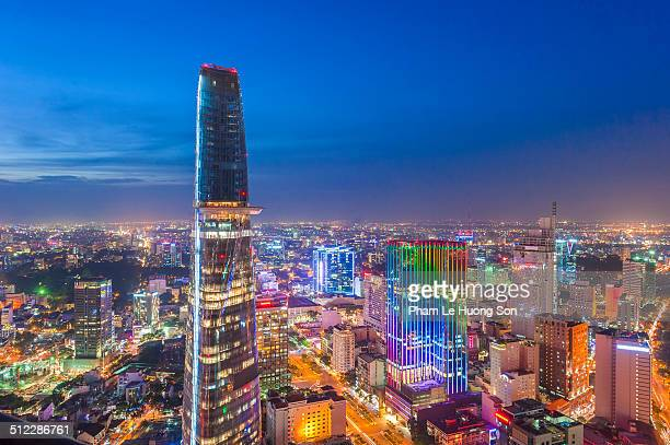 Aerial night view of business district in Saigon